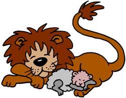 Lion and lamb clip art.