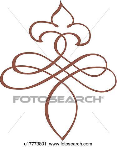 Brown fancy line art Clipart.