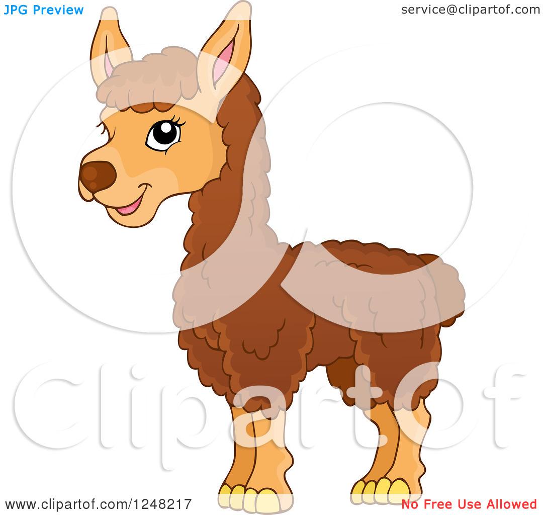 Clipart of a Cute Llama.