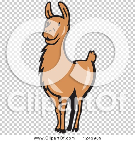 Clipart of a Brown Alert Llama.