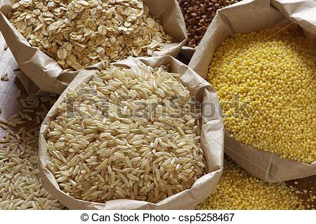 Picture of Various cereals in bags.