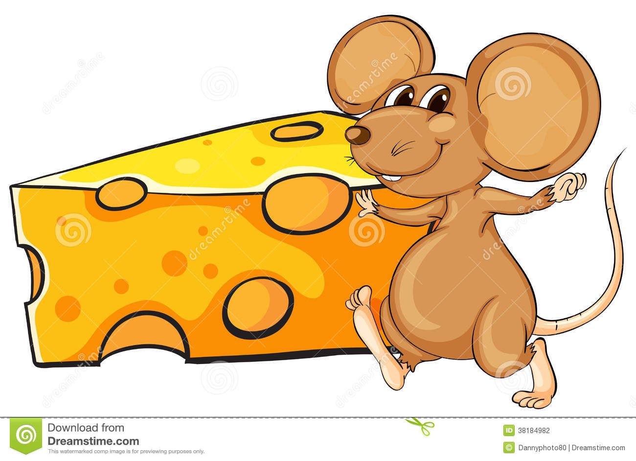 A Brown Mouse Beside The Big Slice Of Cheese Stock.