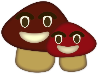 Friendly Mushrooms clip art.