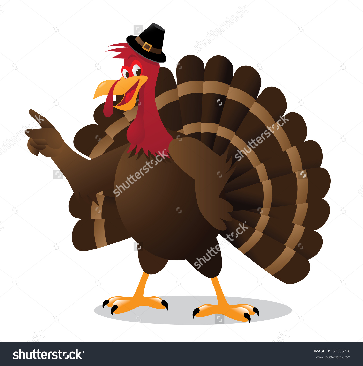 Cartoon Turkey Points At Your Message. Eps 10 Vector, Grouped For.