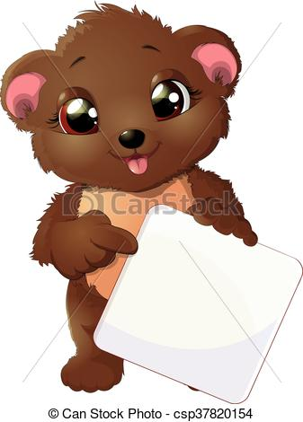 Clipart Vector of Bear points a finger at plate.