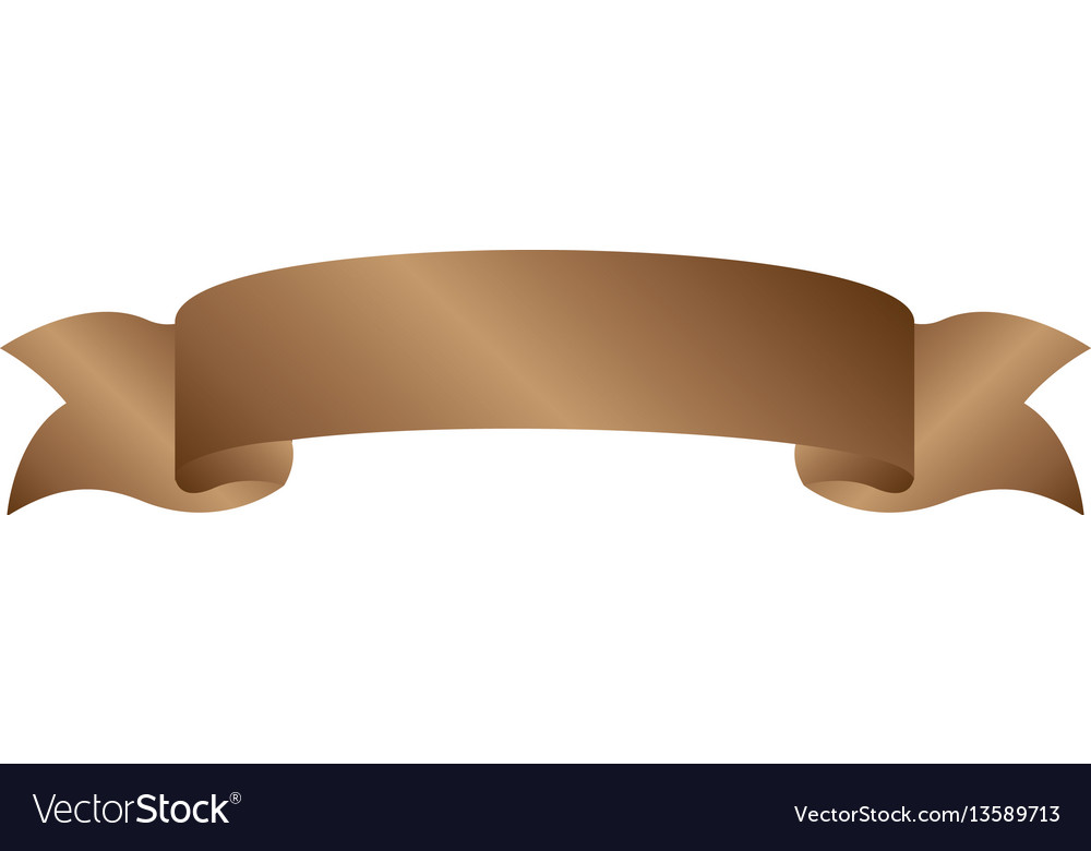 Brown light label with ribbon on gradient.