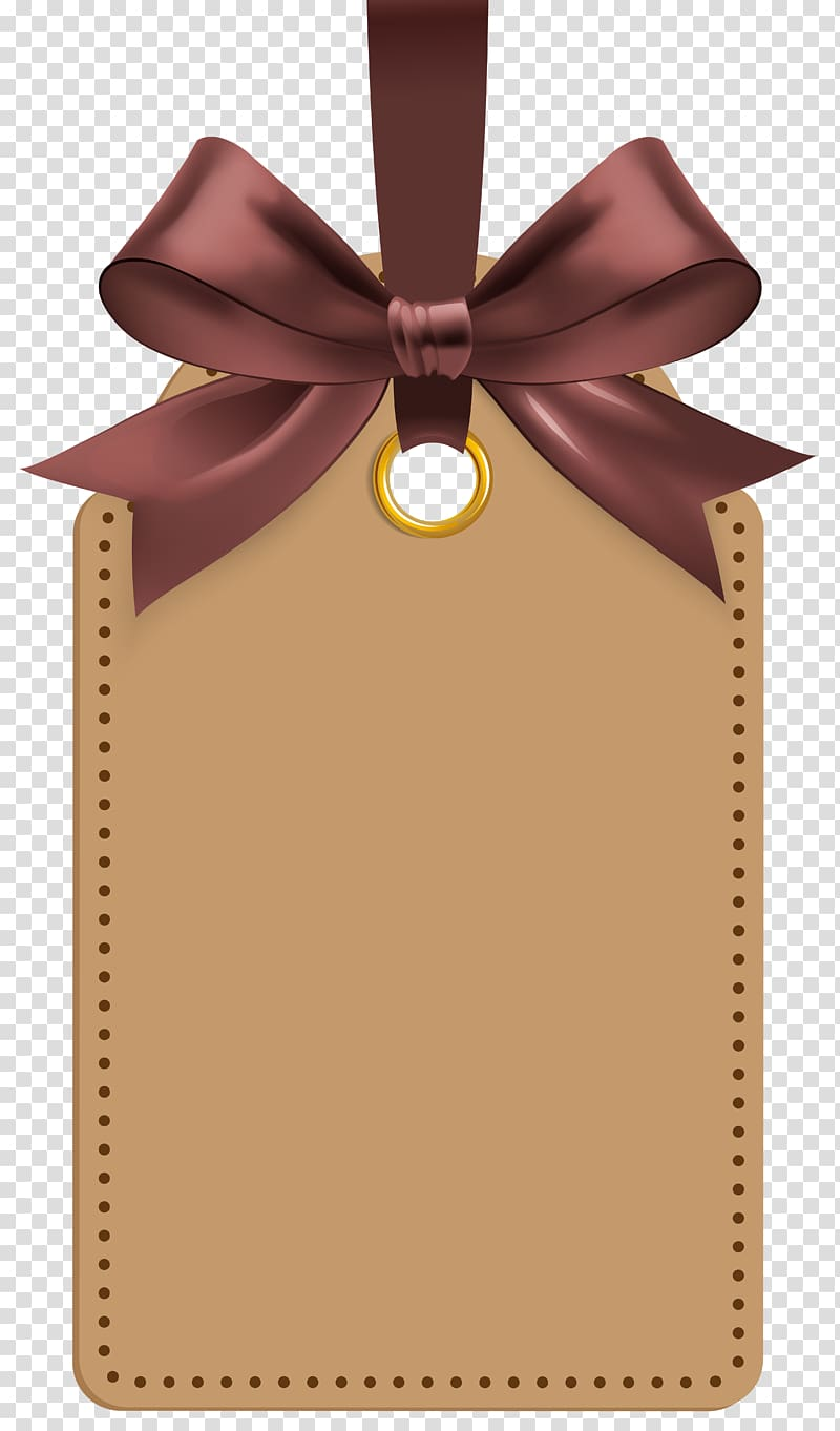 Label , Label with Brown Bow Template , brown label tag illustration.