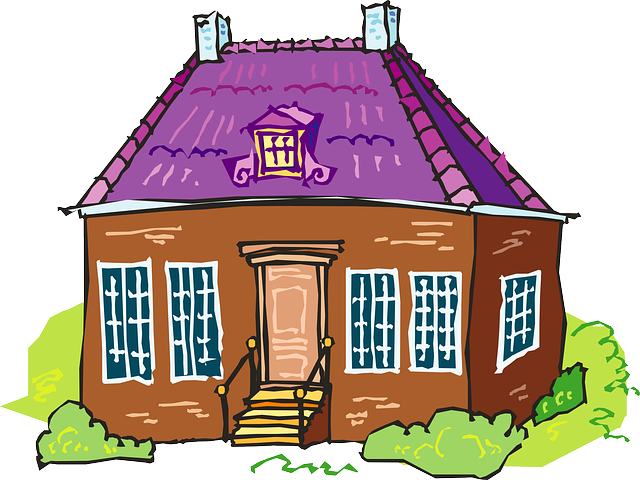 Free Brown House with Purple Roof Clip Art.