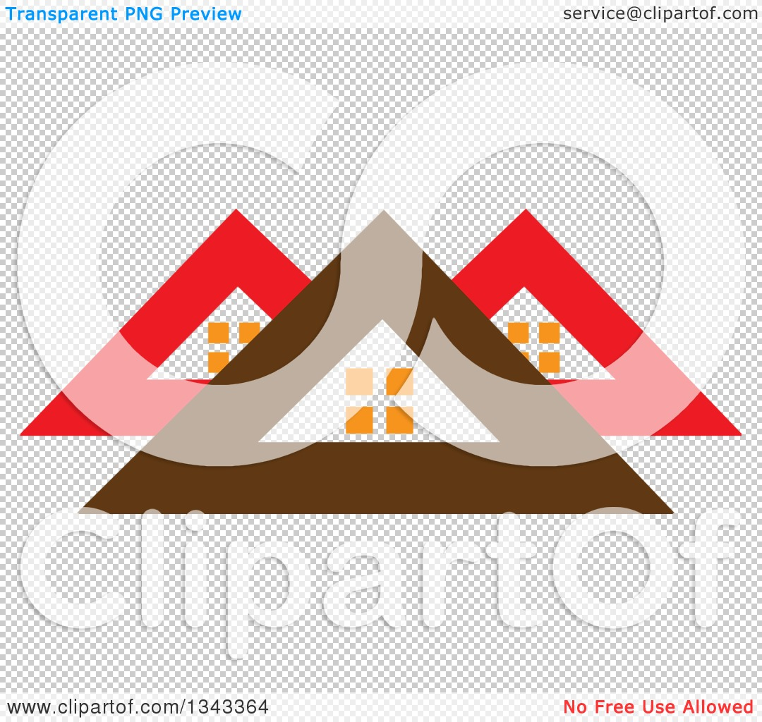 Clipart of Red and Brown Roof Tops.