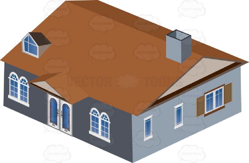 Dwelling Cartoon Clip Art Brown Roof.