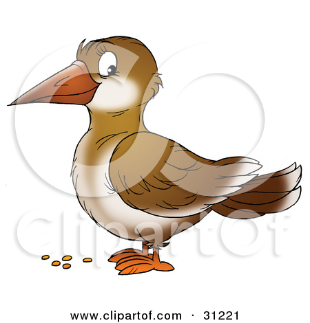 Clipart Illustration of a Cute Brown Crow In Profile, Standing.