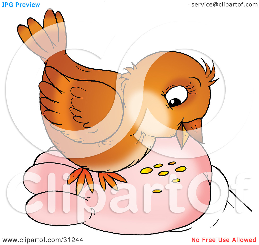Clipart Illustration of a Cute Brown Bird Eating Seed From A Human.