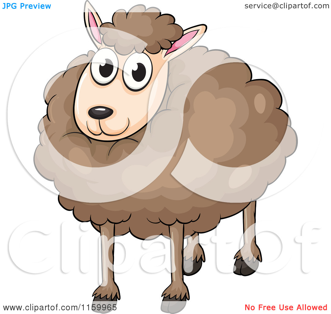 Cartoon of a Happy Fluffy Brown Sheep.