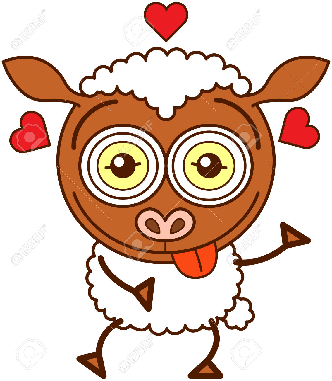 Cute Brown Sheep With Long Ears, Funny Bulging Eyes And Covered.