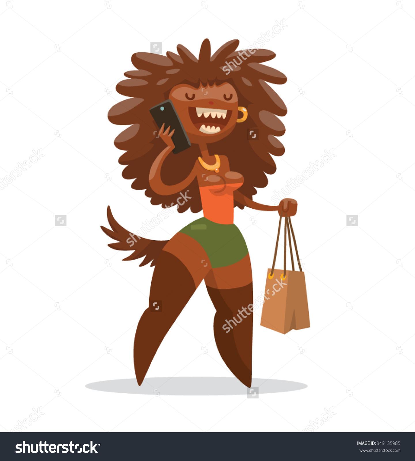 Cartoon Cute Female Monster Dark Brown Stock Vector 349135985.