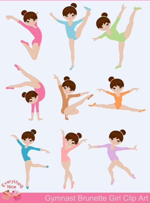 Brunette, Light Brown skin tone Gymnastics / Brunette Gymnast Girl.