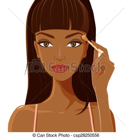 Clipart Vector of Attractive woman with dark skin applying.