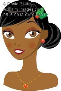 Dark skin girl clipart.