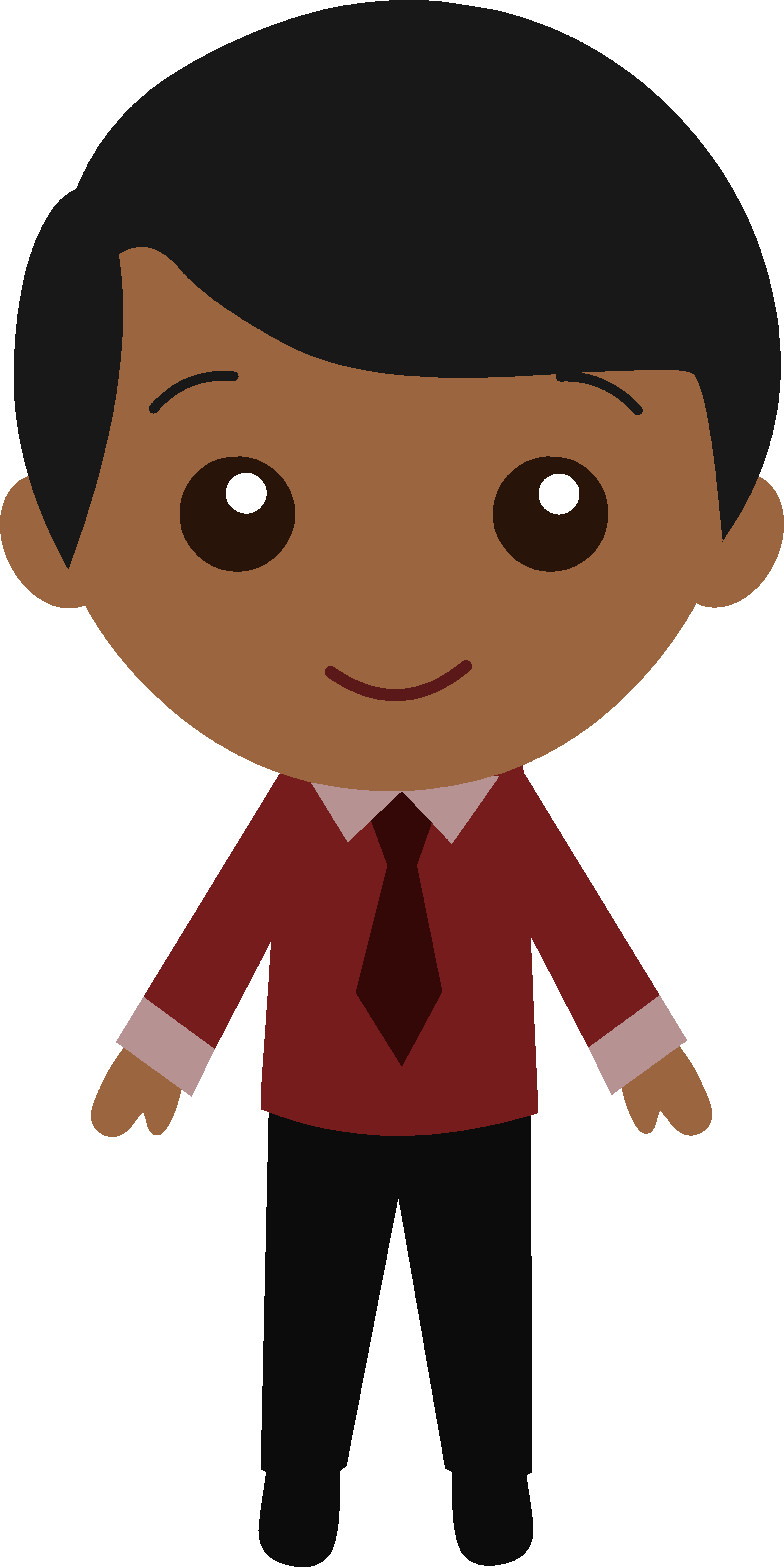 Thin dark haired boy clipart.