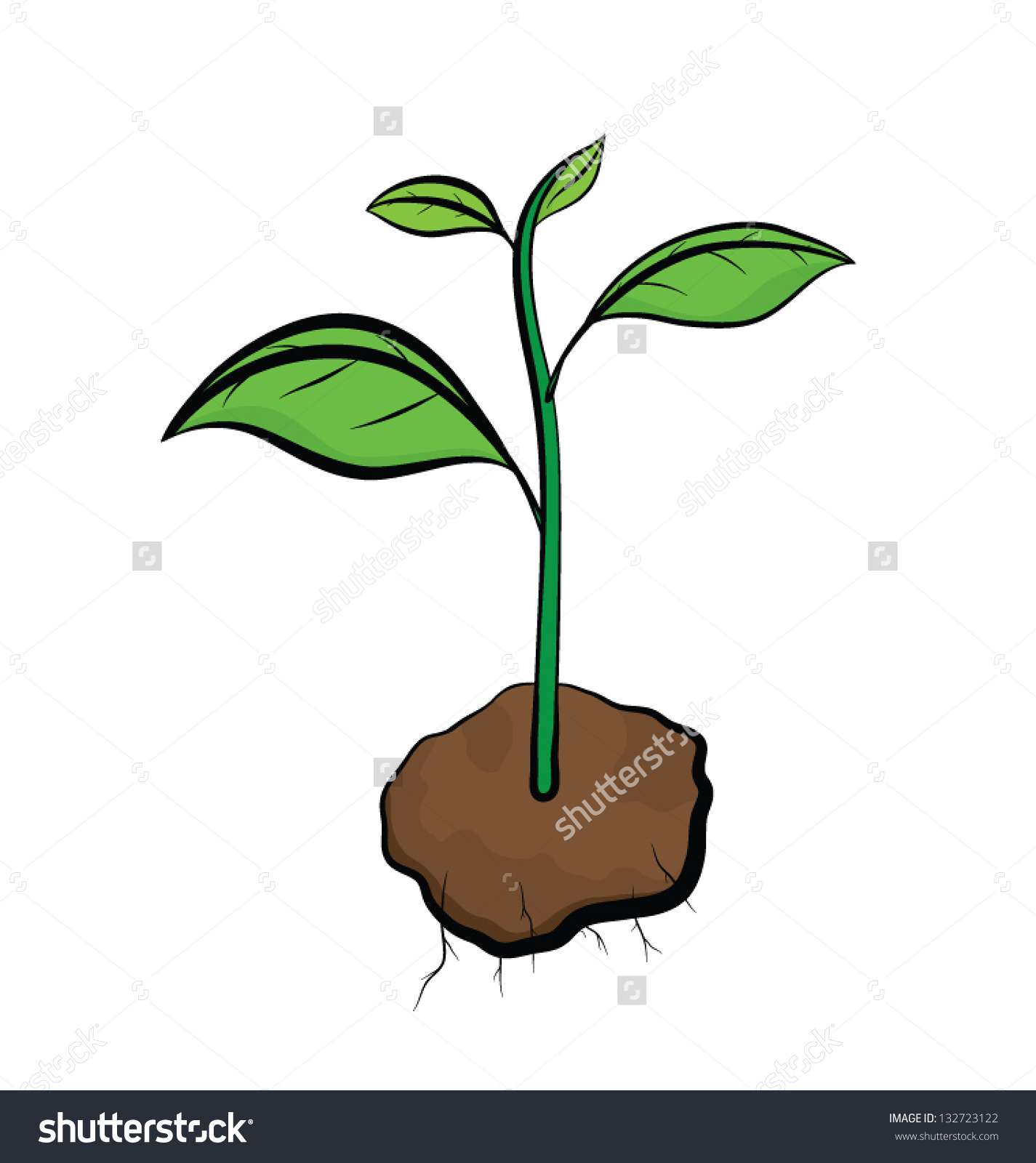 Tree with soil clipart.