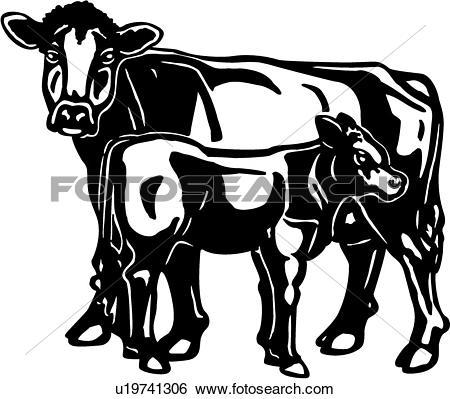 Clip Art of , animal, brown, bull, calf, cattle, cow, farm.