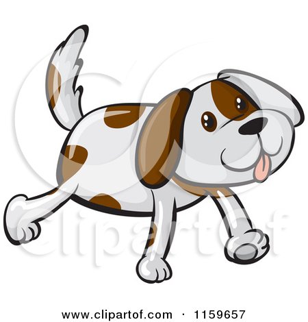 Cartoon of a Happy White Dog with Brown Spots.