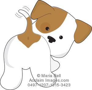 Cute brown puppy clipart.