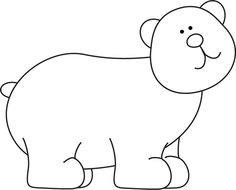 Bear black and white clipart.