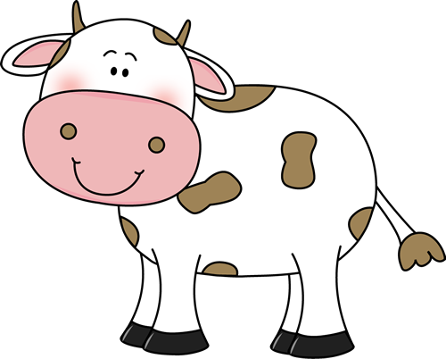 Brown and white cow clipart.