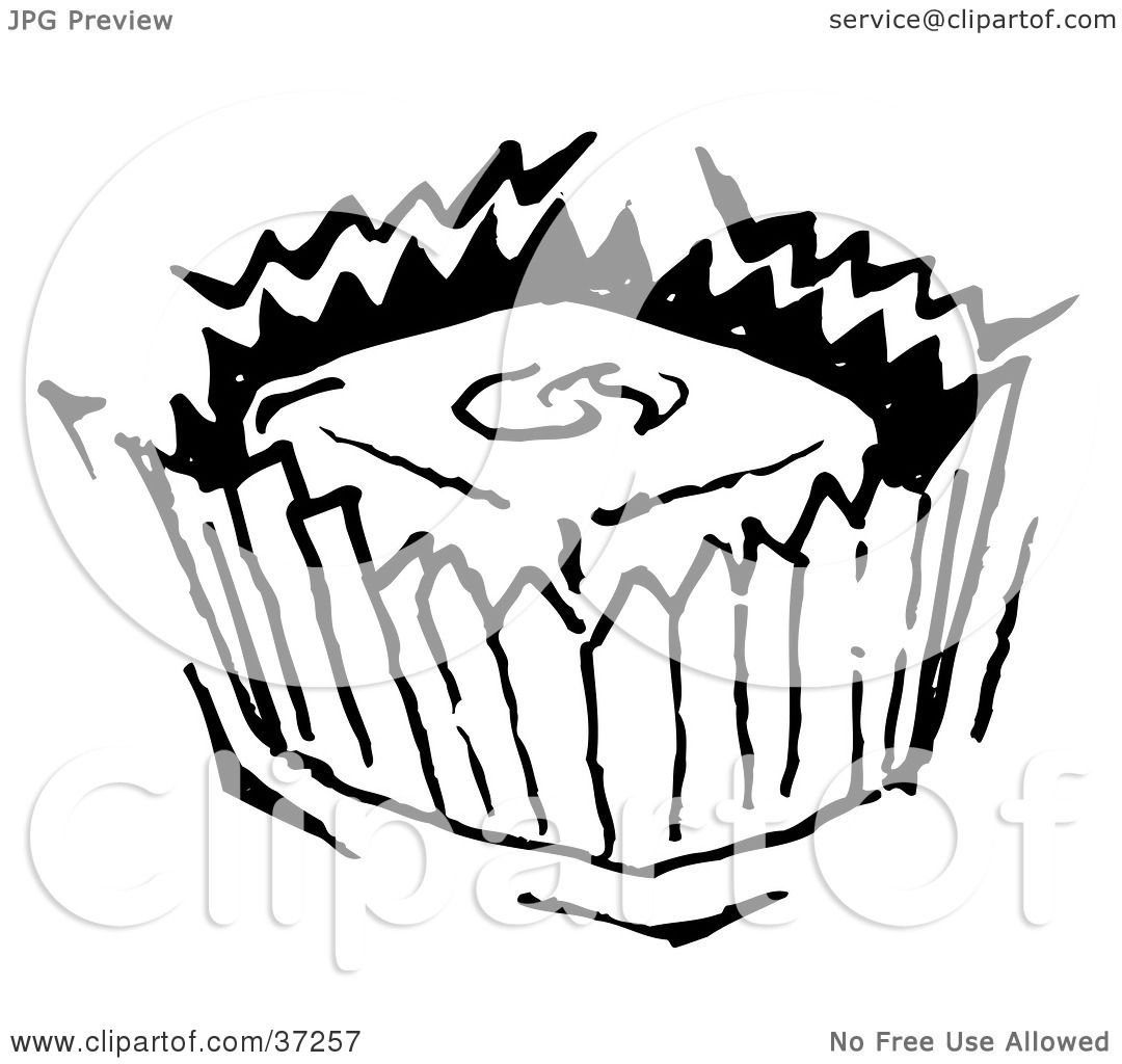 Clipart Illustration of a Black And White Piece Of Candy In A.