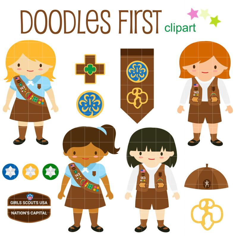 Brownie Girl Scout Clip Art for Scrapbooking Card Making Cupcake Toppers  Paper Crafts.