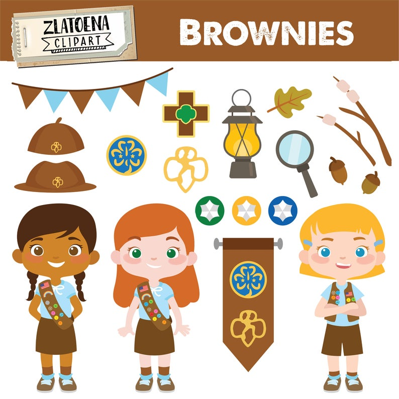 Brownie Girl Scout Clipart Scout Girl Clip art Camping Digital Kids Camping  Printable art Explorer Clip art Girl Scouts Troop Camping.