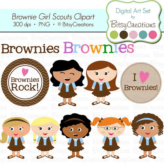 Brownie Girl Scouts Digital Art Set Clipart by BitsyCreations.