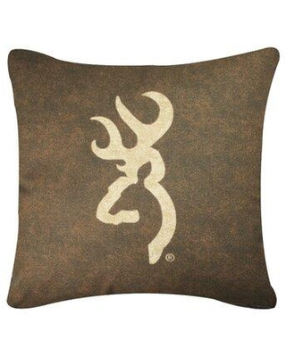 Browning Browning Buckmark Logo Throw Pillow 09072100144BRN Color: Brown  from Wayfair.