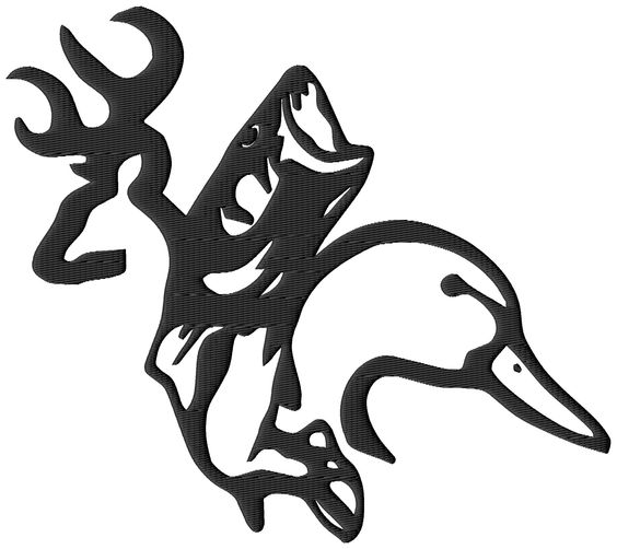 Browning Rebel Buck Doe Heart Embroidery Designs (3 sizes.