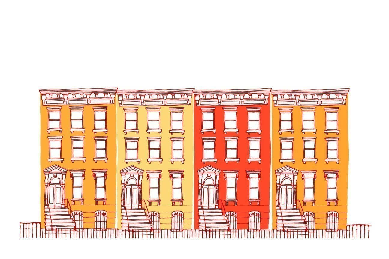 Houses All in a Row (orange) by claudiagpearson on Etsy.