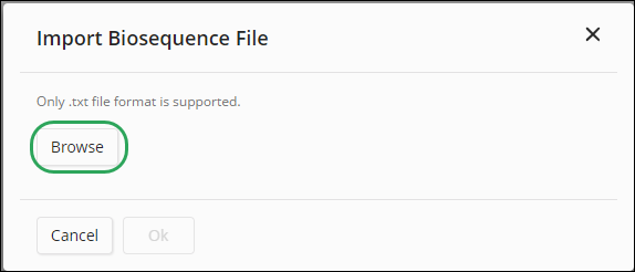 Import a Biosequence File.