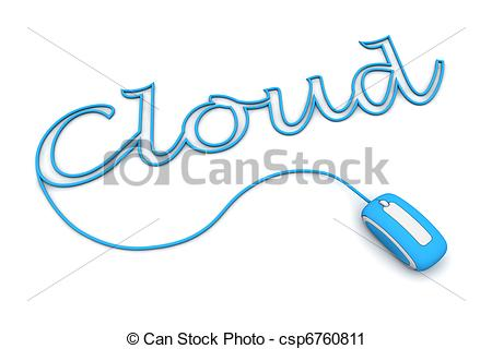 Clipart of Browse the Light Blue Cloud Cableed by the mouse cable.