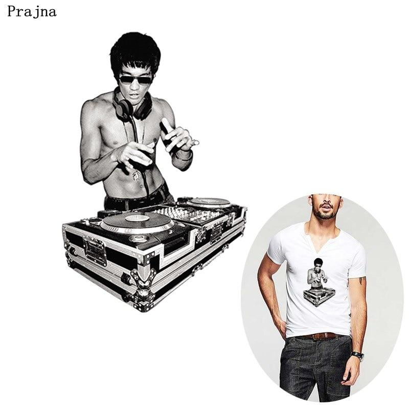 Rock DJ Iron On Patches Bruce Lee Heat Transfer Chinese Kung Fu Patch For  Clothes DIY Hot Viny Patch T.