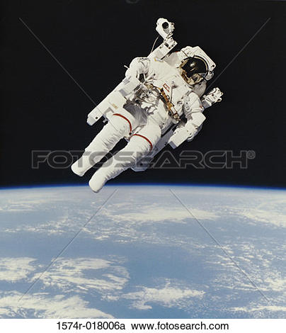 Stock Photography of Bruce McCandless II from Space Shuttle.