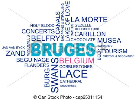 Clipart Vector of word cloud around bruges, city in belgium.