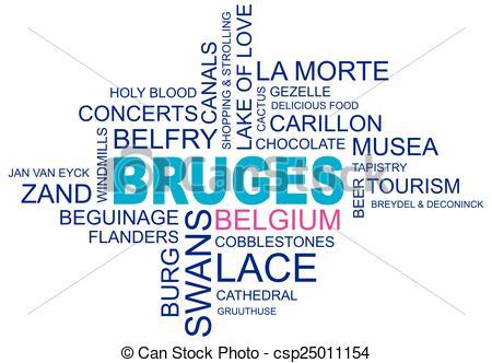 Clipart Vector of word cloud around bruges, city in belgium.