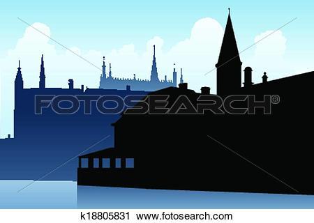 Clipart of Bruges Spires k18805831.