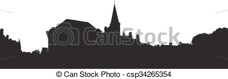 Clipart Vector of Bruges old town skyline monochrome silhouette.