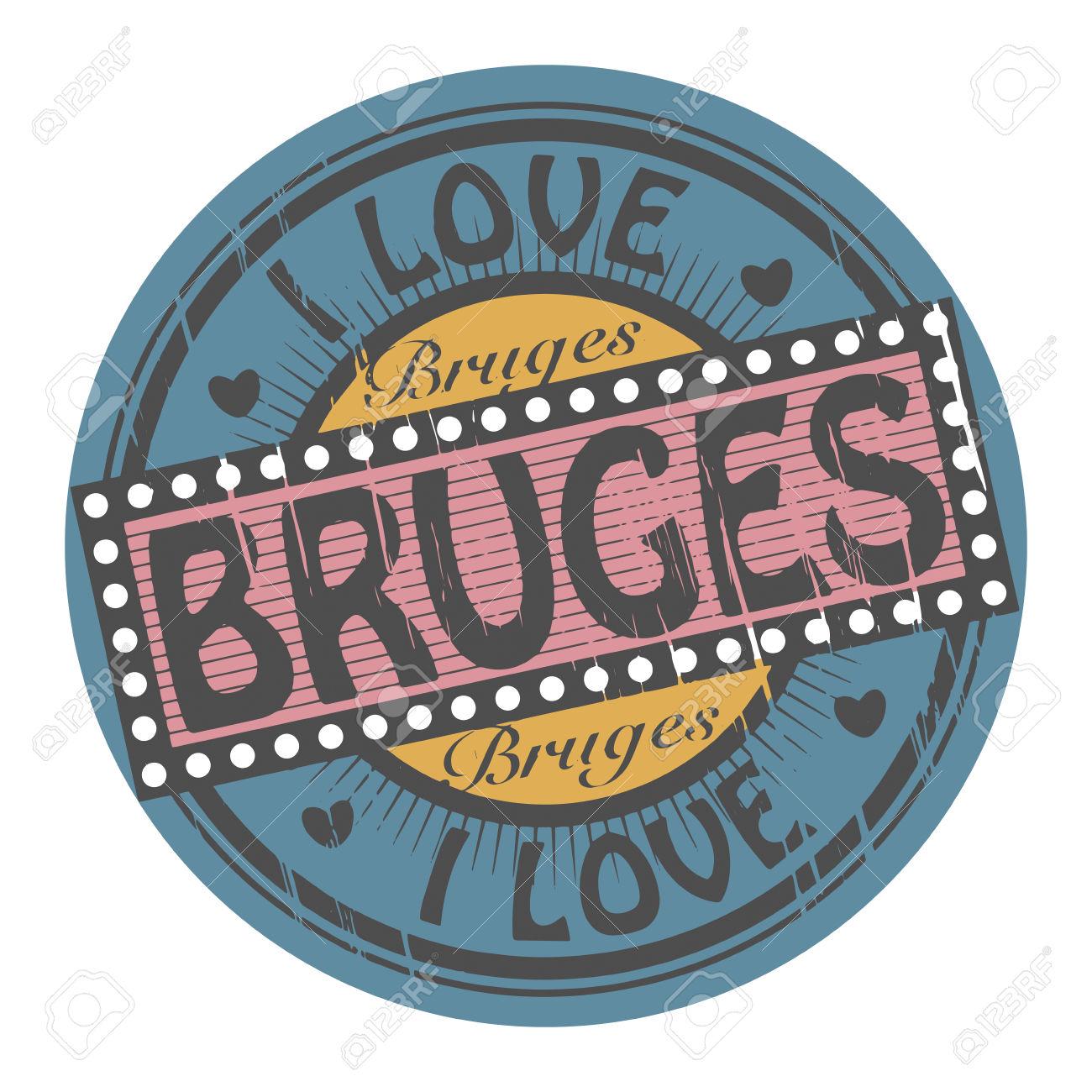 Grunge Color Stamp With Text I Love Bruges Inside Royalty Free.