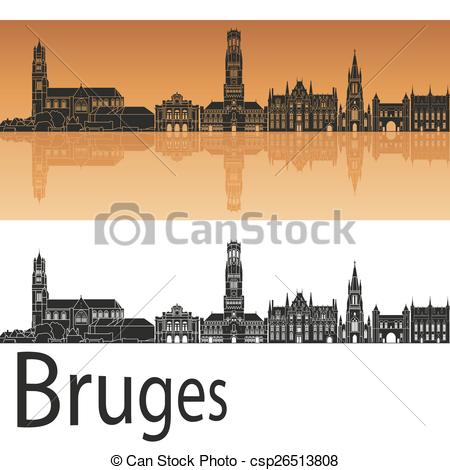 Vector Clipart of Bruges skyline in orange background in editable.