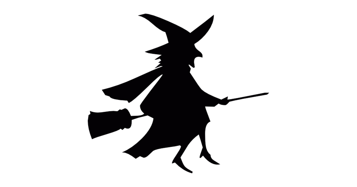 Flying broom and witch.