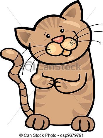 Clip Art Vecteur de brun, Tabby, chaton.