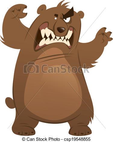 Vecteur Clipart de debout, rigolote, brun, projection, ours.