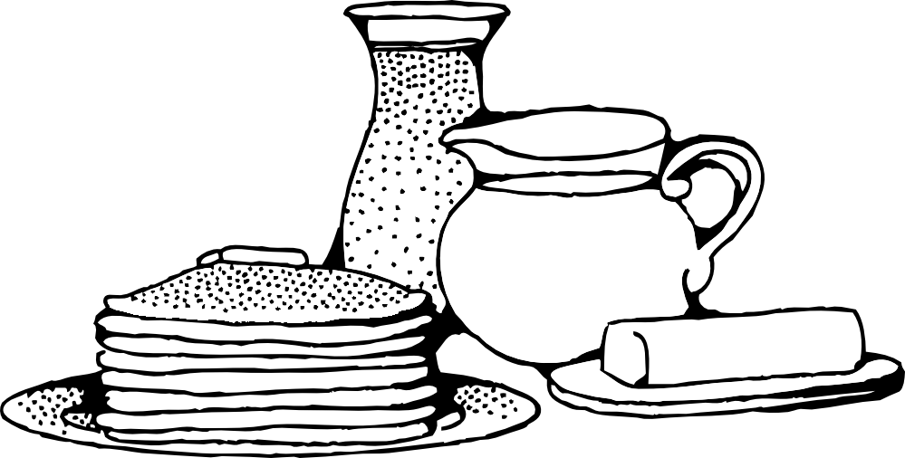 Black And White Breakfast Clipart.